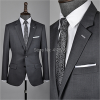 Free shipping 2014 Custom Mens Medium Slim Fit Charcoal Suit High Wool Jacket Set with Pant For Office Men(Jacket +Pant)