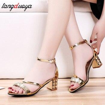 a951e3a3c6 Tacón cuadrado sandalias mujeres zapatos de tacones altos para zapatos de  boda