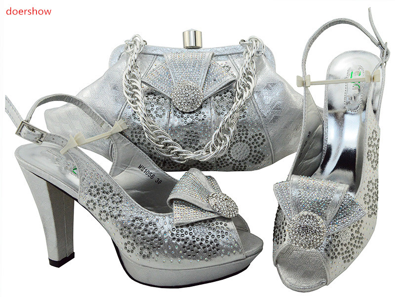 doershow Italian Shoes with Matching Bags for Women Nigerian Shoe and Bag Set for party African Shoe and Bag Set !IU1-13 doershow italian shoe with matching bag silver african shoe and bag set new design matching shoes and bags for party bch1 7