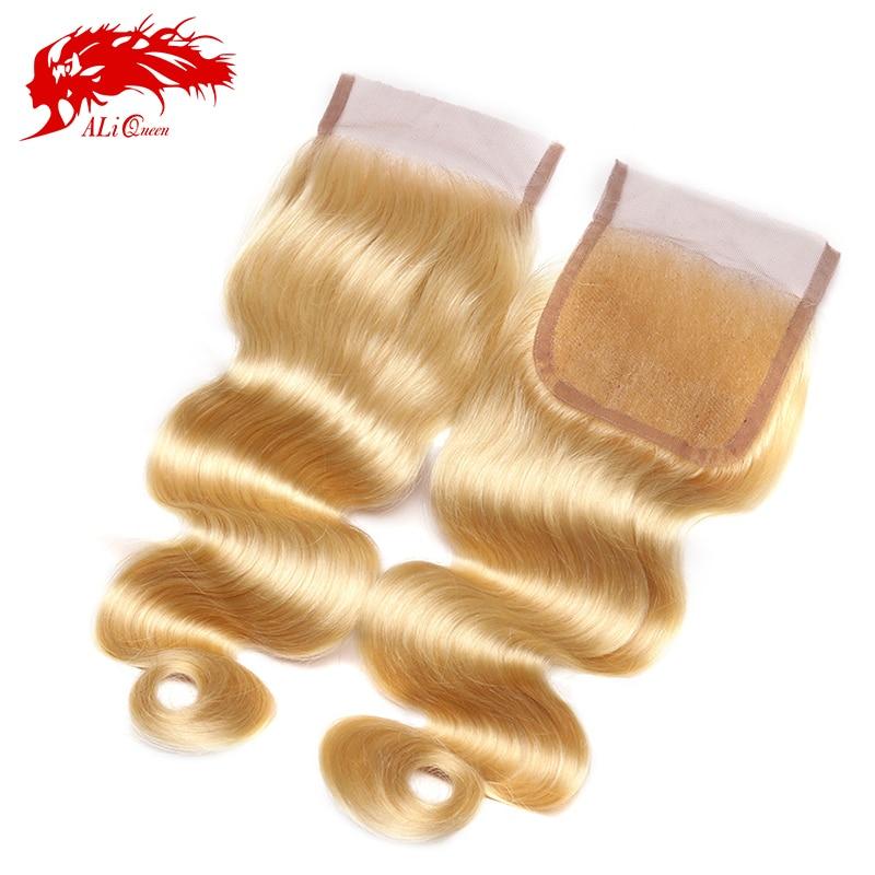 #613 Lace closure Free part Bleached Knots, Brazilian Virgin Hair Body Wave Blonde Closure,6A #613 Closure Body Wave Weave