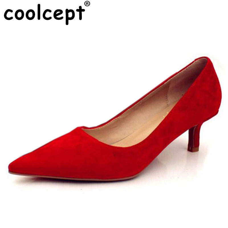 Coolcept 7 Colors Women Real Leather High Heels Shoes Women Brand Pumps Pointed Toe Party Slip-On Shoes Lady Footwear Size 34-39 fashion brand name women high heels shoes patent leather pointed toe slip on footwear chunky heel party wedding lady pumps nude