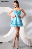 Sky Blue Elegant Cocktail Dresses Sexy Sweetheart Mini Ball Gown Cocktail Dress Full Sequined Beading Formal Party Dress