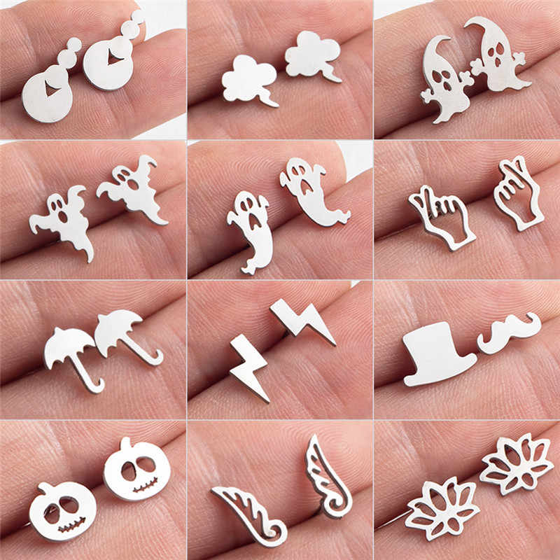 Exquisite Simlated Silver Stainless Steel Stud Earrings Cloud Umbrella Hat Goatee Lotus flower Earing Bijoux Brincos Ear Jewelry