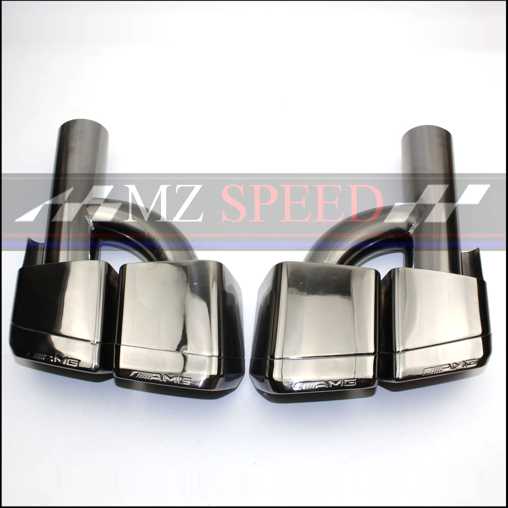 new Car styling Dual Outlet Dark gray Exhaust Tips Muffler End Pipe Fit For Benz W212 W207 W204 AMG For Benz car accessories