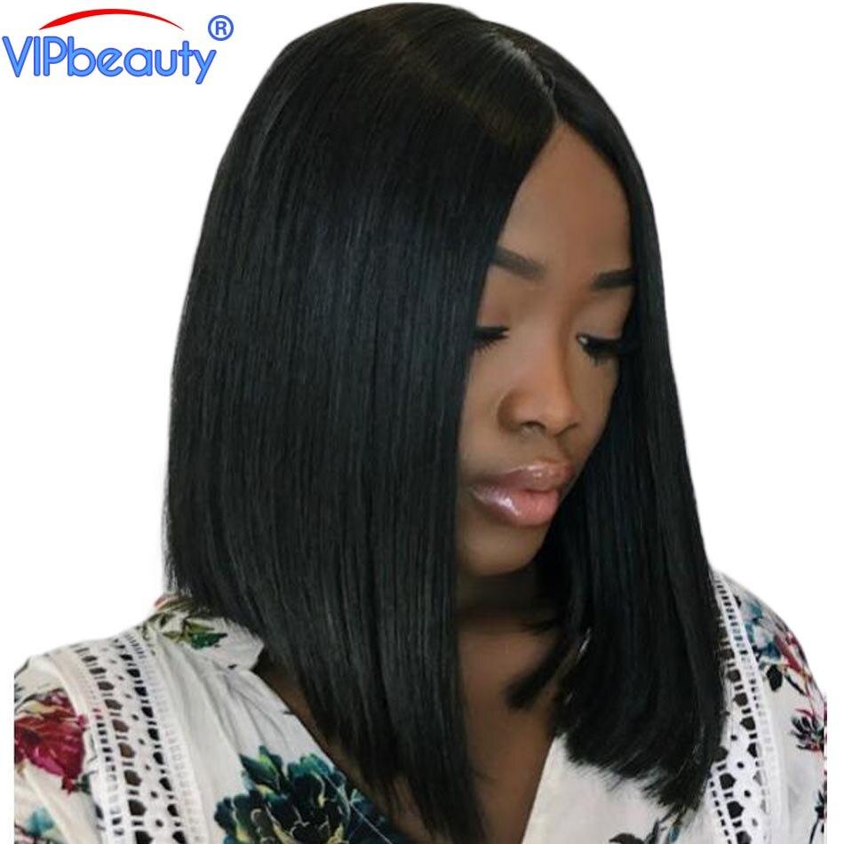 Bob peruca dianteira do laço perucas de cabelo humano beleza VIP Peruano reta perucas curtas para as mulheres negras do cabelo remy Pré arrancou com o bebê cabelo