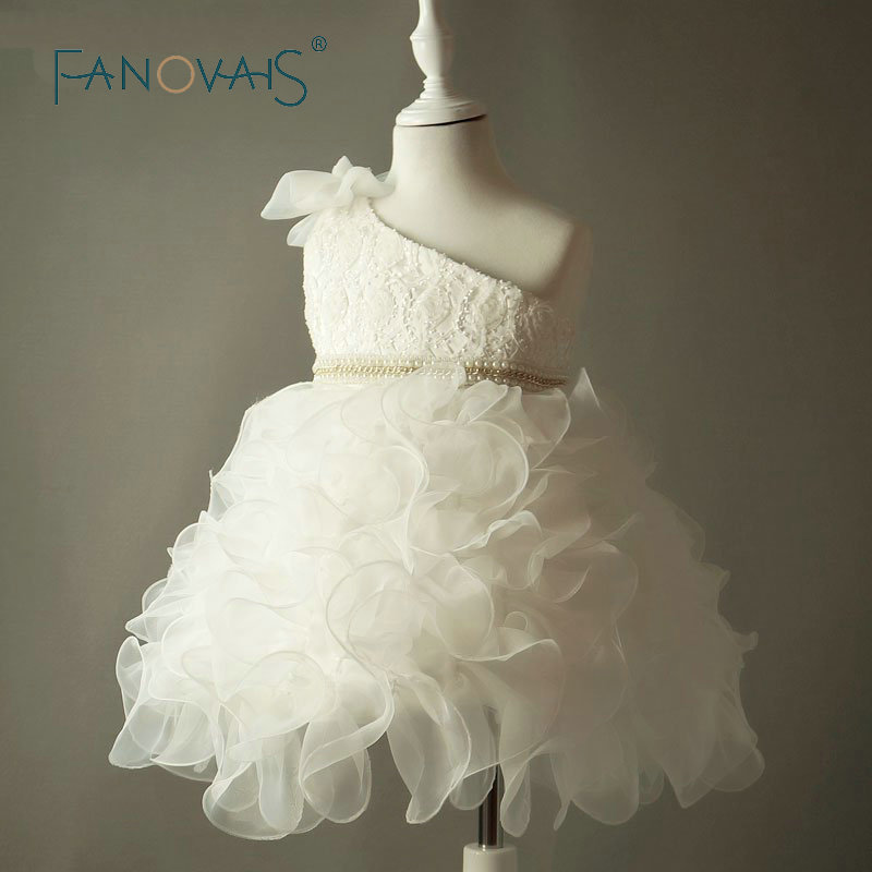Ivory Flower Girl Dresses For Weddings Vintage Kids Pageant Party Dresses For Girls vestidos de primera comunion