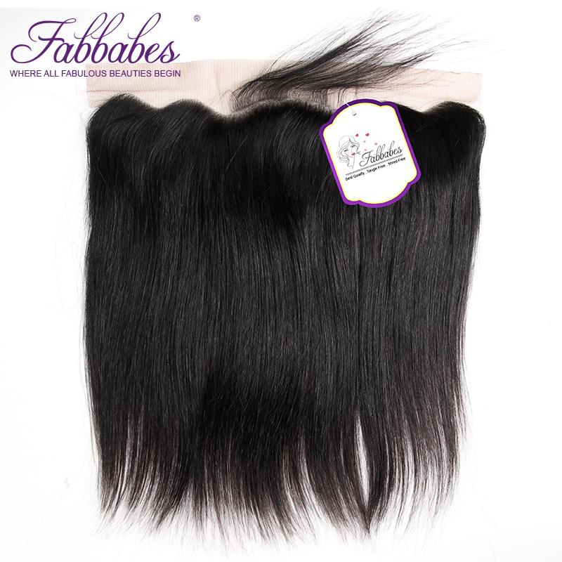 Fabbabes Hair Brazilian Straight Lace Frontal Closure 13*4 Ear to Ear Free Part Closure 130% Destiny Remy Hair Free Shipping ...