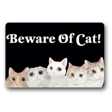 Door Mat Entrance Mats Beware Of Cat Non-slip Doormat 18x30 Inch Machine Washable Non-woven Fabric