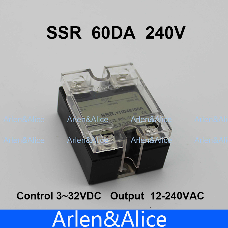 60DA SSR Control 3-32V DC output 12~240VAC single phase AC solid state relay normally open single phase solid state relay ssr mgr 1 d48120 120a control dc ac 24 480v