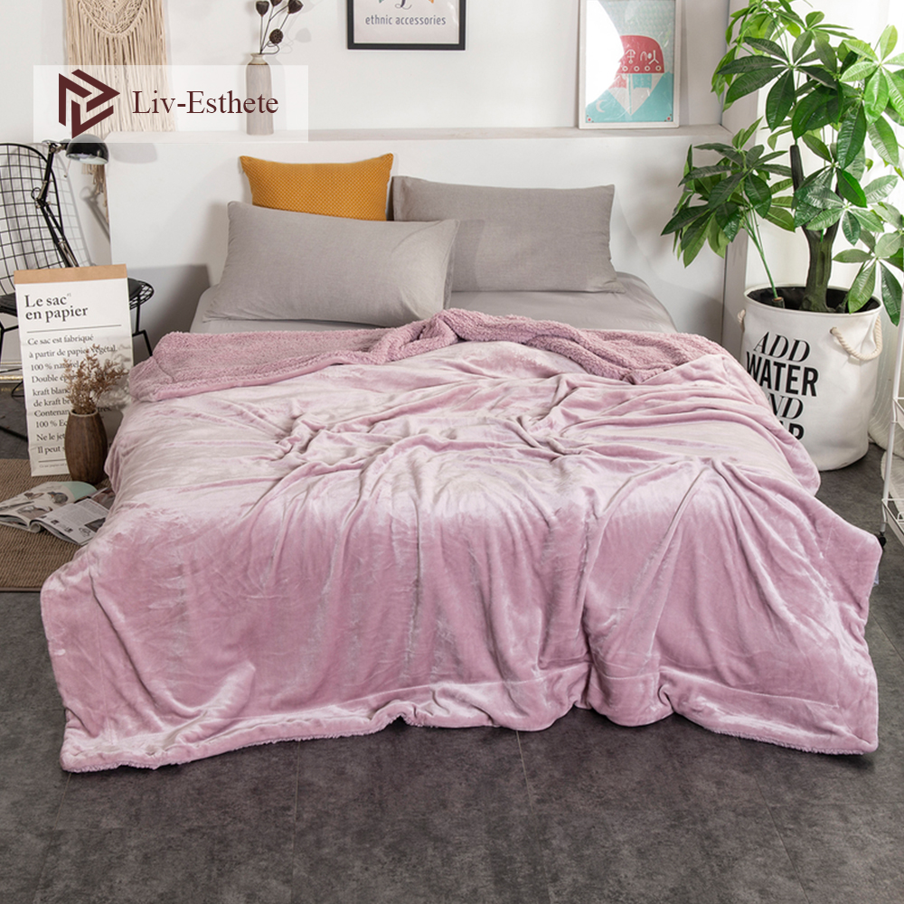 Liv-Esthete 2019 Fashion Thick Sherpa Throw Blanket Weighted Flannel Queen King Adult All Season For Bed Or Couch 1PCS