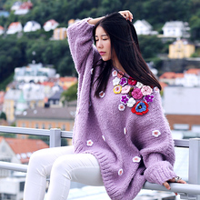 [AIGYPTOS-MX]Autumn Winter Women Cute Lavender Batwing Sleeve Oversized Loose Crocheted Flowers Hand Knitted Mohair Sweater