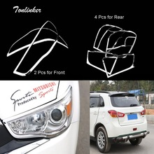 Tonlinker 2-4 PCS Car DIY NEW ABS Chrome Front and Rear Headlight Light Box Cover Case Stickers for Mitsubishi ASX 2011-15