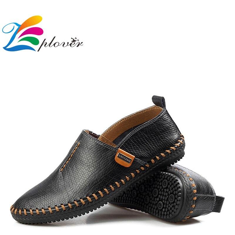 Zplover Men Casual Shoes 2016 Fashion Breathable Genuine Leather Men Shoes Spring Men's Flats Shoes Men Loafers Mocasines Hombre