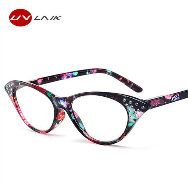 8948f79bd7af UVLAIK Retro Cat Eye Reading Glasses Women Imitation Diamond Cat s eye  Glasses for Reader 1.0 1.5