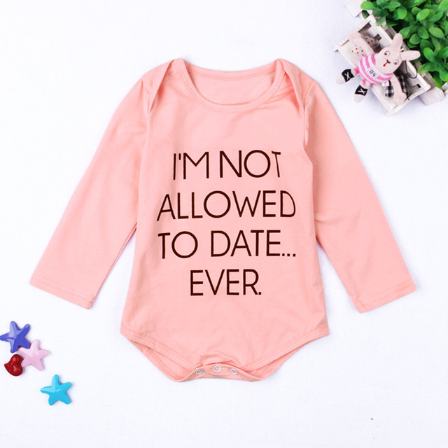 Fashion Funny Letters Printed Baby Clothes Dropship Pink Bodysuit