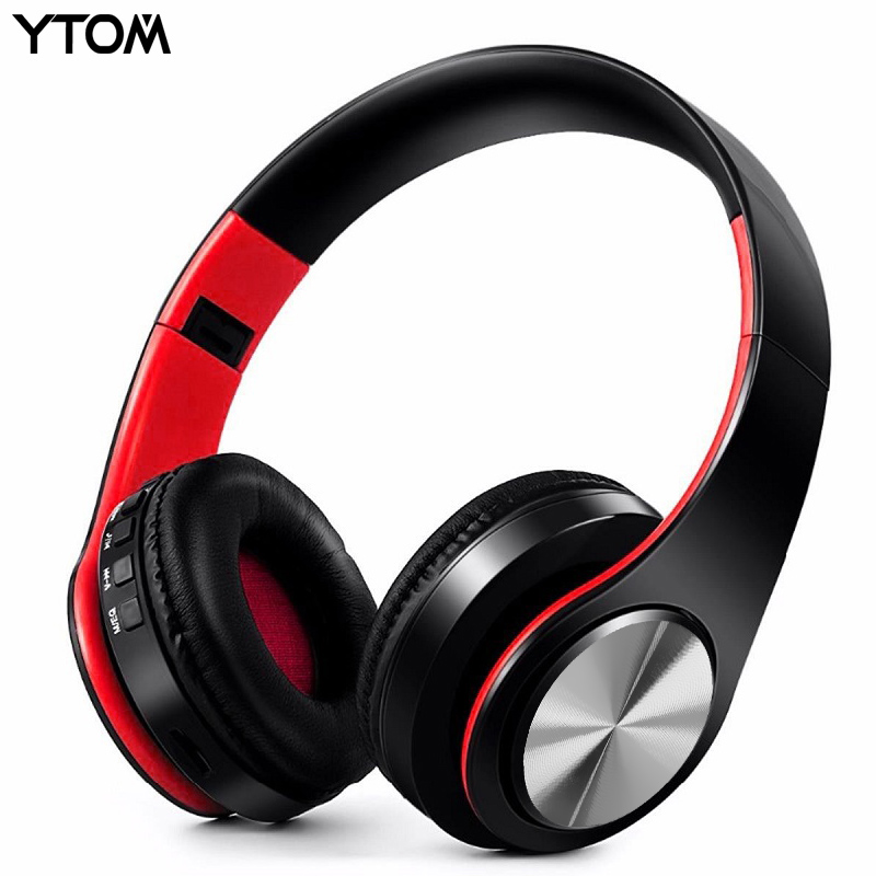 YTOM Foldable Bluetooth Headphones Wireless Headset Stereo Earphone with Microphone support TF Card FM Radio for iphone xiaomi foldable on ear wireless stereo bluetooth headphones headset supports fm