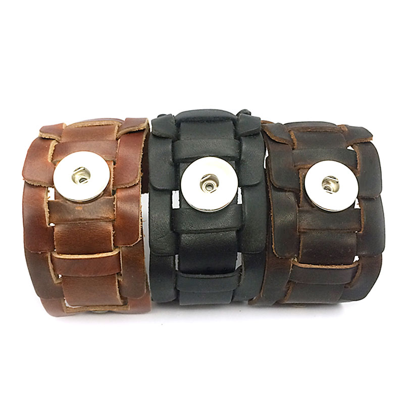Original 016 hand woven Genuine Leather Retro fashion Bracelet Snap Button Jewelry Charm Jewelry For Women