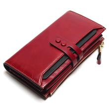 Купить с кэшбэком 2018 New Women Wallets Genuine Leather High Quality Long Design Clutch Cowhide Wallet High Quality Fashion Female Purse