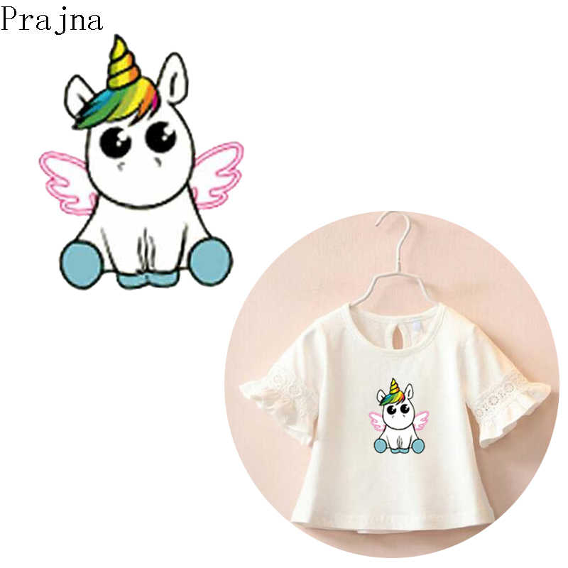 Prajna Unicorn Iron-on Transfers For Clothes Kids PVC Patch Cartoon Heat  Transfer Vinyl Applique Thermal Transfer Printed Stripe