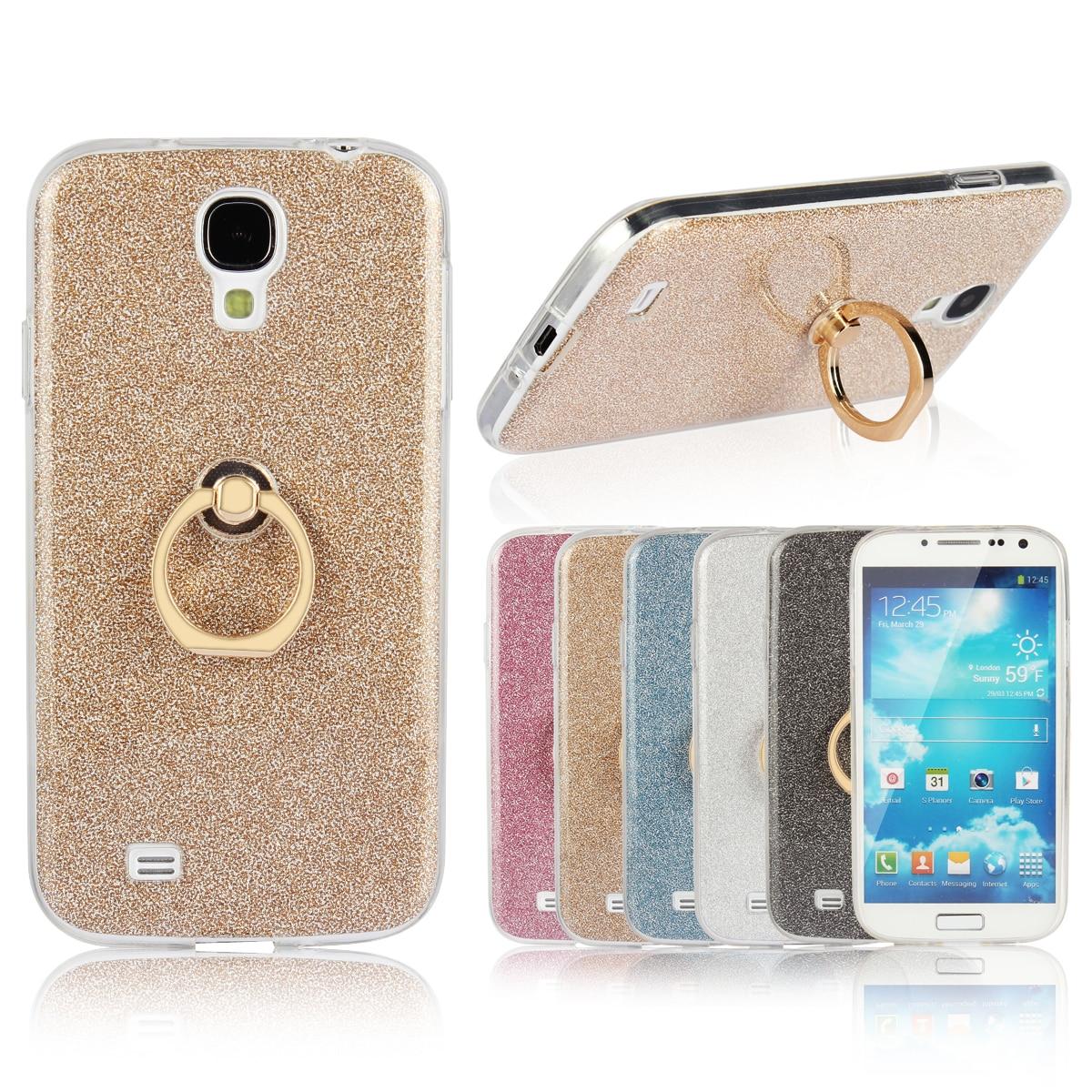 Case for Samsung Galaxy S4 Flash powder TPU Case for Samsung S4 GT-I9500 I9508 I9505G I9506 I9507 I9505 Finger buckle Phone bag