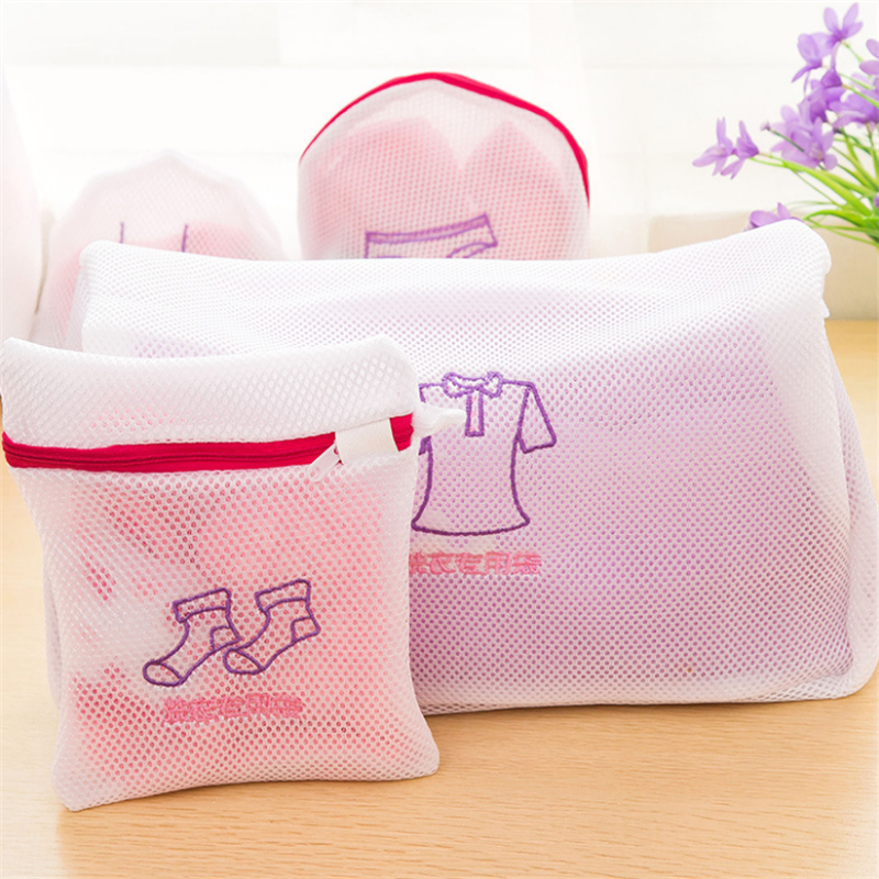 NEW Zippered Mesh Laundry Wash Bags Foldable Delicates Lingerie Bra Socks Underwear Washing Machine Clothes Protection Net