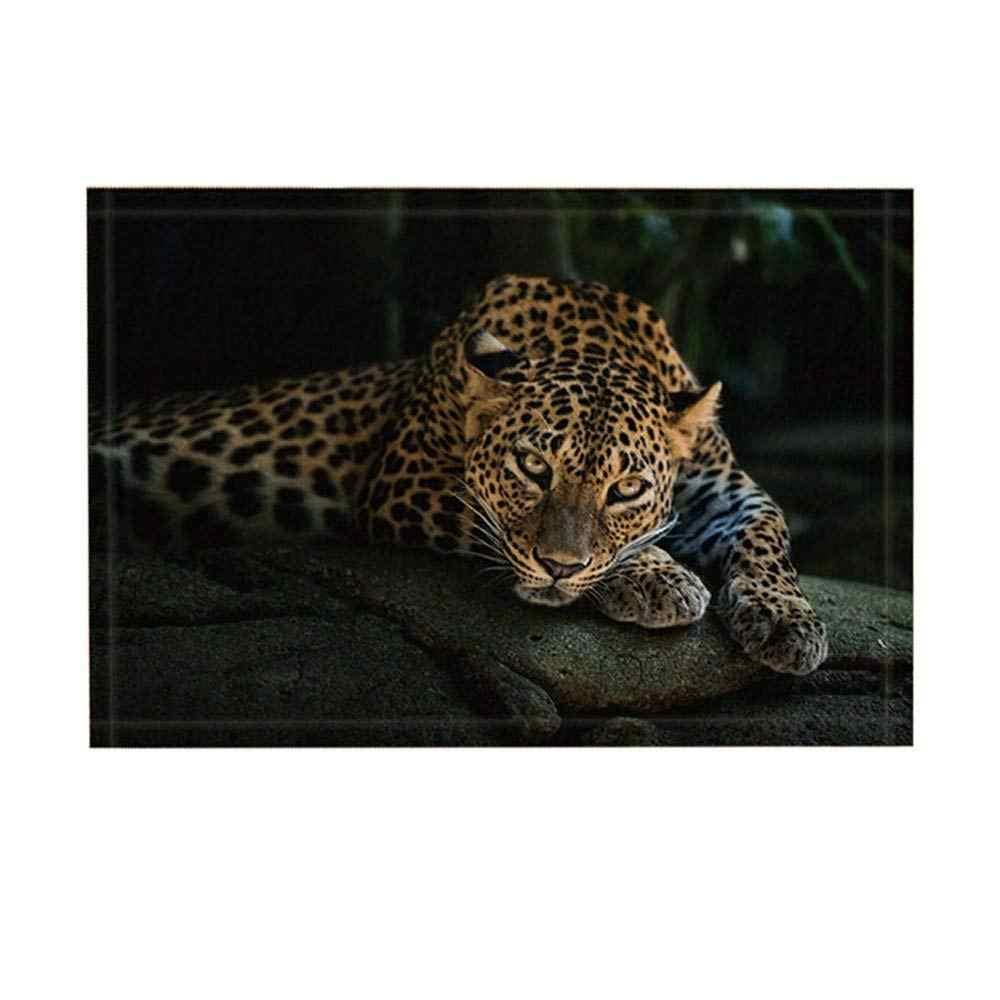 Động Vật hoang dã Thảm Thiên Nhiên Hoang Dã Leopard Trên Đá Trong Bóng Tối Săn Bắn Không-Trượt Chùi Chân Entryways Trong Nhà Phía Trước Cửa Mat trẻ em Mat