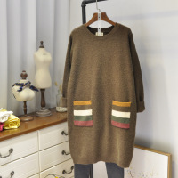 Autumn Winter Women Knitted Wool Bottoming Long Pullover Sweater Loose Colorful Striped Pockets Patchwork Female Sweater