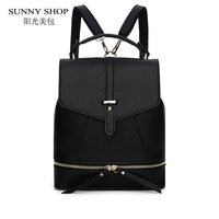 SUNNY SHOP Preppy Style School Backpack 2 Different Sizes Lovers Backpack Fashion Unisex Leather Backpack School