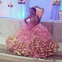 kejiadian Pink gold edge Sweet 16 Quinceanera Dresses Gowns