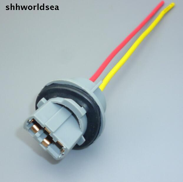 shhworldsea 100pcs T20 7443 light socket Headlight Wiring