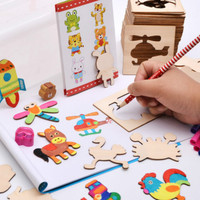 Panting Darwing Board Toys Set School Paint Tool Learning Educational Book Coloring Notebook Graffiti Board Wooden Panting toys
