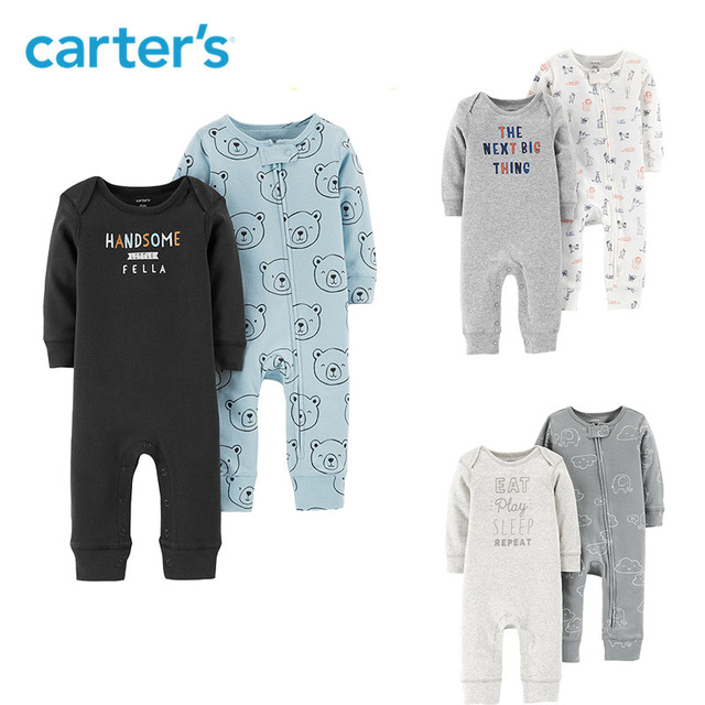 cab324ce58a1 Carters 2Pcs lot jumpsuits cute print long sleeve baby girl rompers Soft  cotton newborn baby boy clothes set 126H458 126H653