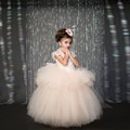 2016 New Flower Girl Dresses Little Girl Pageant Princess Ball Gown Bow Lace Tulle Long  Custom Made First Communication Cheap