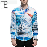 Tailor Pal Love 2018 New Arrivals Men Beach Shirts Long Sleeve Mens Casual Floral Printed Dress