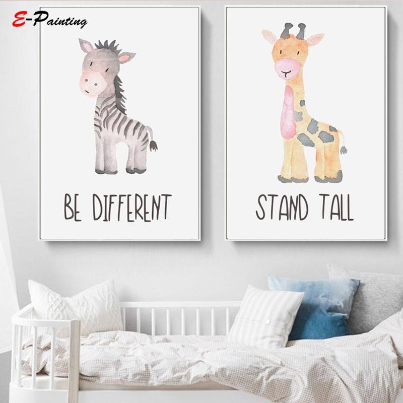 Modern Canvas Painting Picture Baby Animals Prints Safari Nursery Wall Art Cute Elephant Giraffe Zebra Lion Kids Room Decor