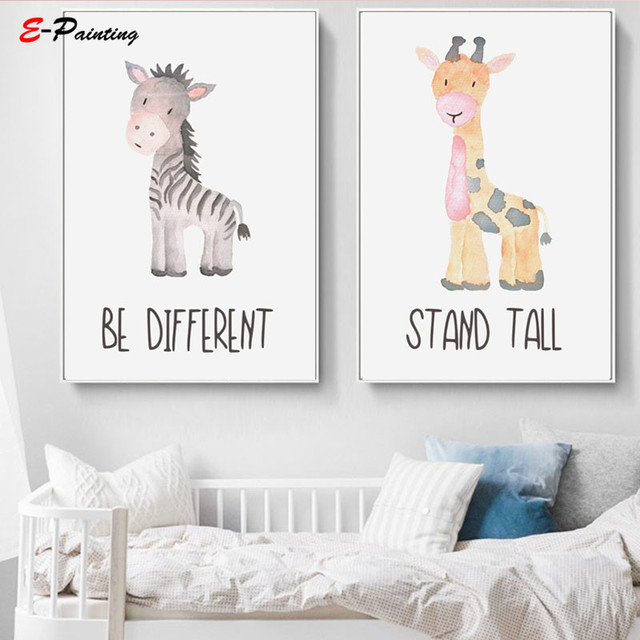 Modern Canvas Painting Picture Baby Animals Prints Safari Nursery Wall Art Cute Elephant Giraffe Zebra Lion