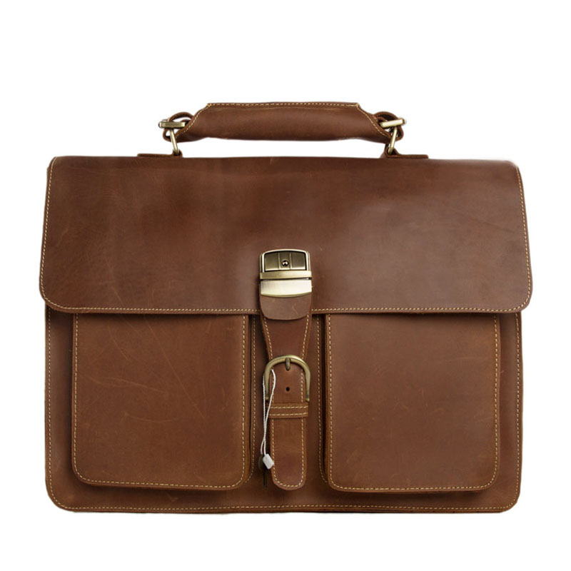 "ROCKCOW Mens Brown Thick Leather 15"" Laptop Bags Briefcase Tote Business Office Cases 1031"