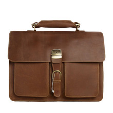 ROCKCOW Mens Brown Thick Leather 15″ Laptop Bags Briefcase Tote Business Office Cases 1031