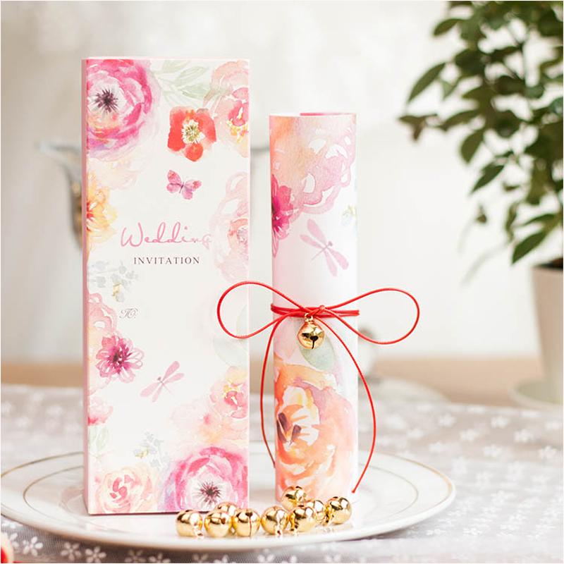 Scroll Wedding Invitations 2017 Pink Floral Invitation Cards for ...