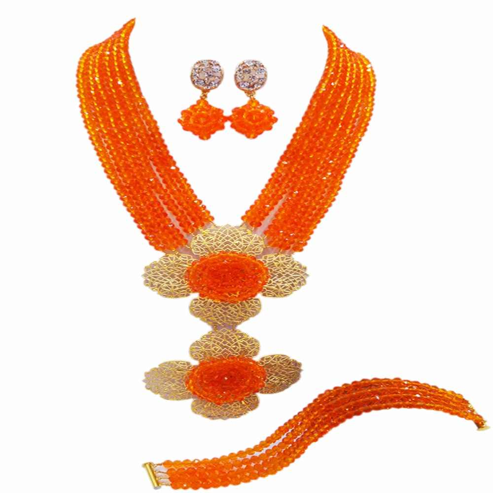 New African Orange Beads Jewelry Set Nigerian Wedding Crystal Statement Necklace Set Brides Free Shipping 6C-2DH020