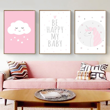 New Arrivals Baby girl pink unicorn cartoon poster no Photo frame Nordic children decorative painting bedroom decoration Sale FM