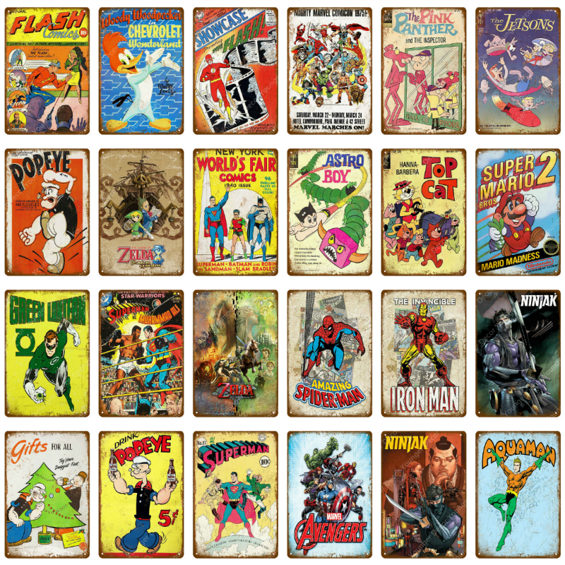 Cartoon Movie Comics TV Series Metal Signs Retro Poster Vintage Art Kraft Wall Painting Decorative Plate Bar Pub Kids Room Decor(China)