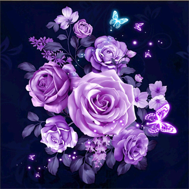 5d Diamond Embroidery Diy Round Diamond Purple Rose Flower