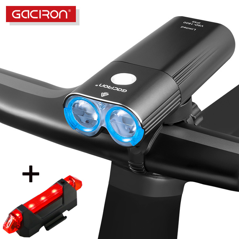 GACIRON 400~1800 LM Bicycle Light PRO Bike Headlight With Taillight USB Power Bank IPX6 Flashlight MTB Road Bike LED Flash Lamp
