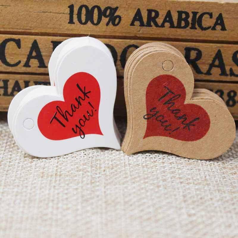 300 шт. коричневый kraft Бумага теги, красное сердце узор спасибо этикетка свадебный подарок украшения бирка, DIY ручной работы сувениры тег 4*2.6 см