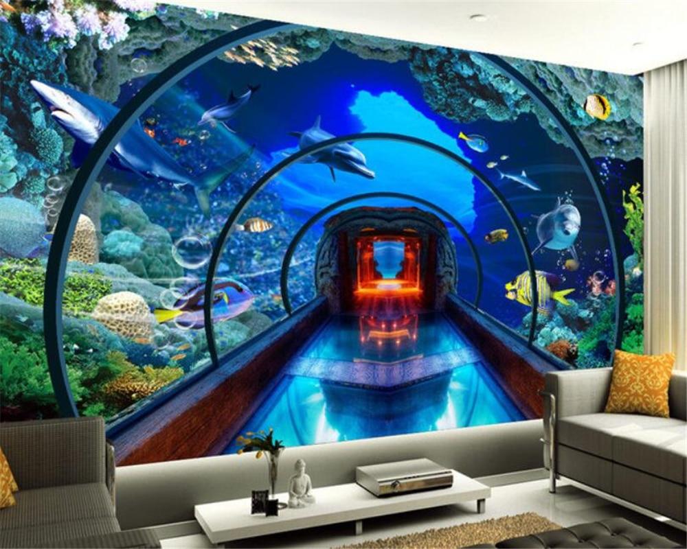 Custom 3d wallpaper underwater world aquarium 3D stereo murals TV background living room wall wallpaper for walls 3 d Beibehang 3d wallpaper murals bridge spectacular scenery 3d wallpaper living room desktop wallpaper background