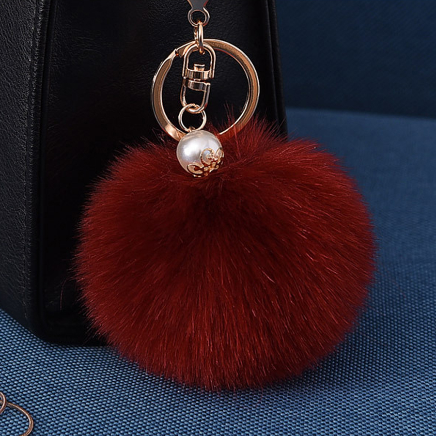 Fashion Pompom Keychains Women Artificial Rabbit Fur Ball Faux Pearl Pendants Bag Car Keyring Fluffy Fur Key Chains Porte Clef faux fur cuff pearl beading scallop dress
