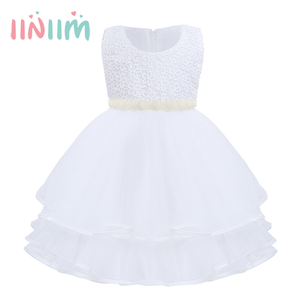 White Vestidos Dresses for Girls Summer Sleeveless Pearls Layer Tulle Flower Dress Princess Pageant Wedding Birthday Party Dress ems dhl free summer new girls princess dress lace bow v back tulle gauze sequin sparkle sleeveless tiers pearls beaded dress