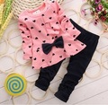 2015 roupa Das Meninas Do Bebê Conjunto Roupa Da Menina Crianças Flor Arco bonito Terno 2 PCS Crianças Twinset Top T Camisa + Calça Xadrez Leggings