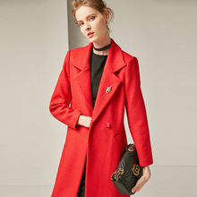Solid turn down collar loose straight long wool coats 2018 new full sleeve single breasted women autumn winter